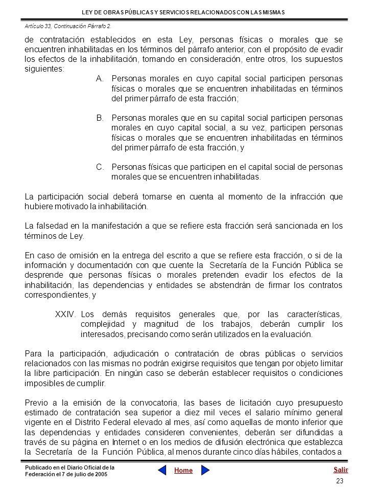 Artículo 33, Continuación Párrafo 2.