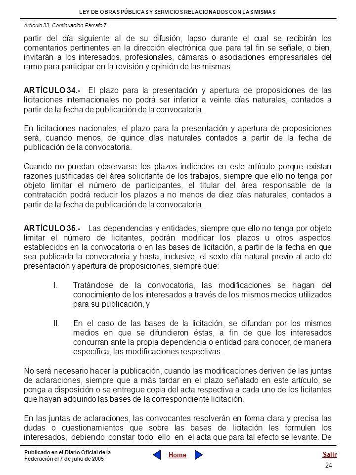 Artículo 33, Continuación Párrafo 7.
