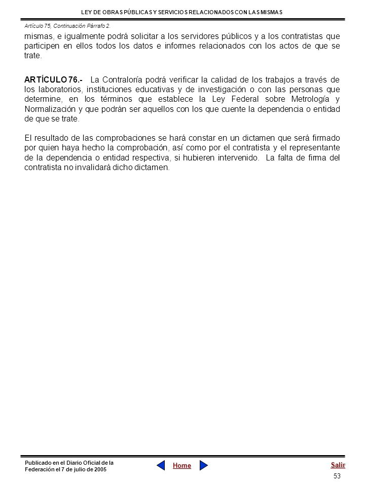 Artículo 75, Continuación Párrafo 2.