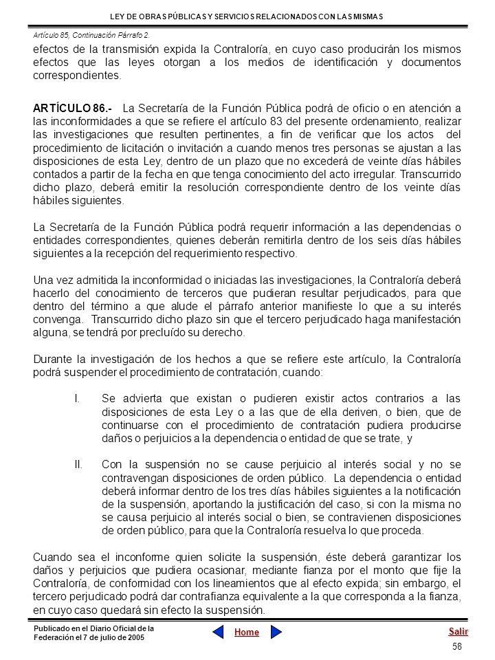 Artículo 85, Continuación Párrafo 2.