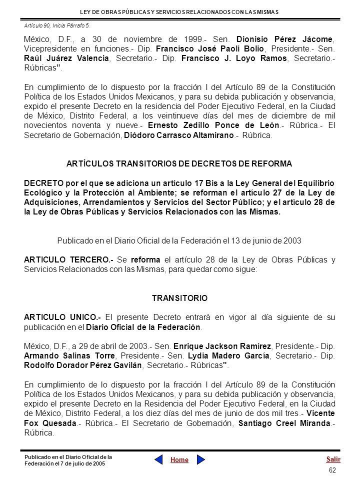 ARTÍCULOS TRANSITORIOS DE DECRETOS DE REFORMA