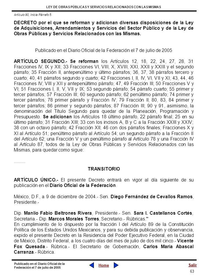Publicado en el Diario Oficial de la Federación el 7 de julio de 2005