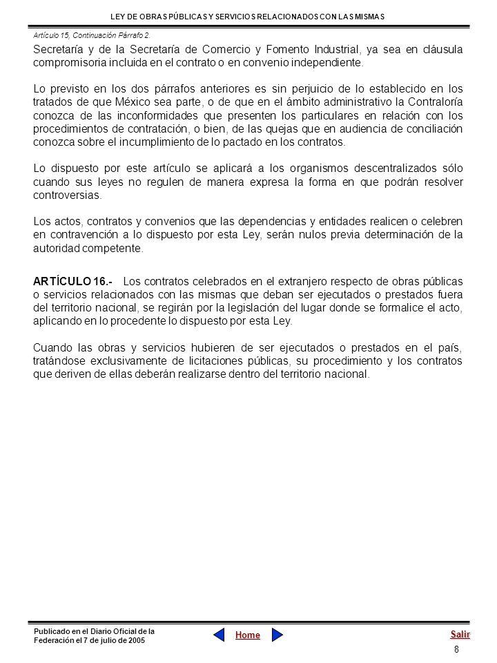 Artículo 15, Continuación Párrafo 2.