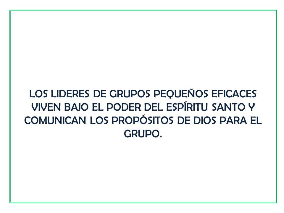LOS LIDERES DE GRUPOS PEQUEÑOS EFICACES VIVEN BAJO EL PODER DEL ESPÍRITU SANTO Y COMUNICAN LOS PROPÓSITOS DE DIOS PARA EL GRUPO.