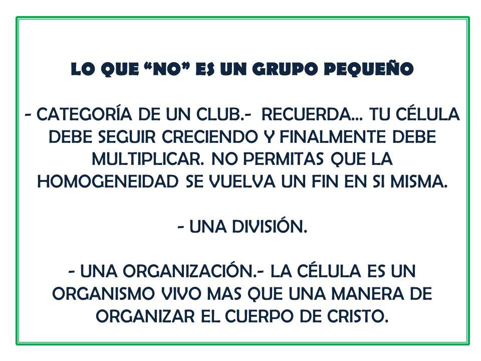 LO QUE NO ES UN GRUPO PEQUEÑO - CATEGORÍA DE UN CLUB