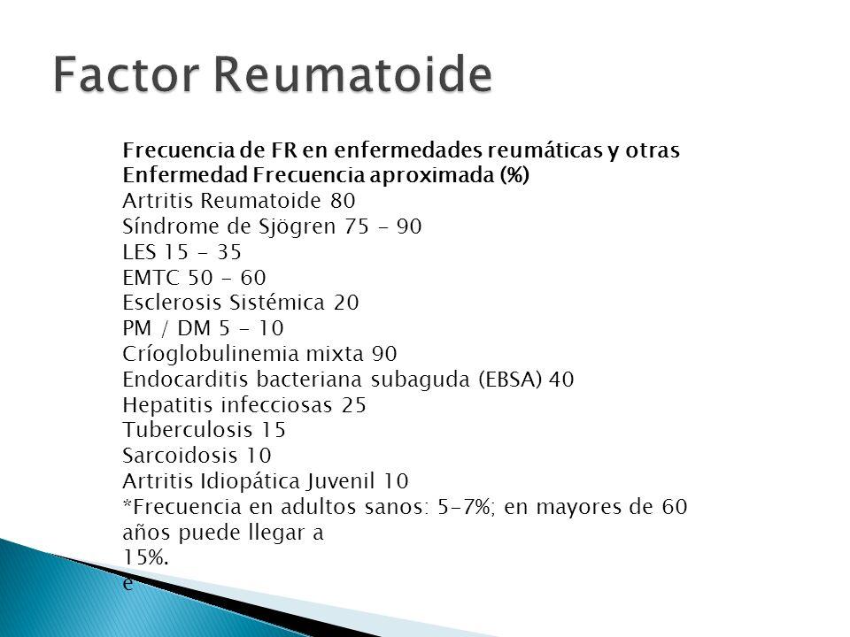 Factor Reumatoide Frecuencia de FR en enfermedades reumáticas y otras