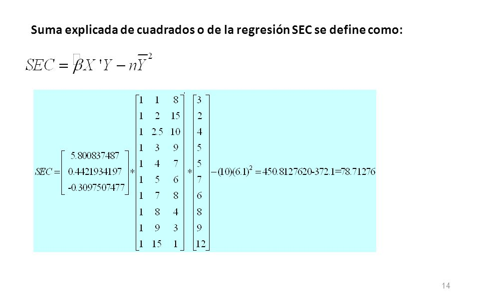 Suma explicada de cuadrados o de la regresión SEC se define como:
