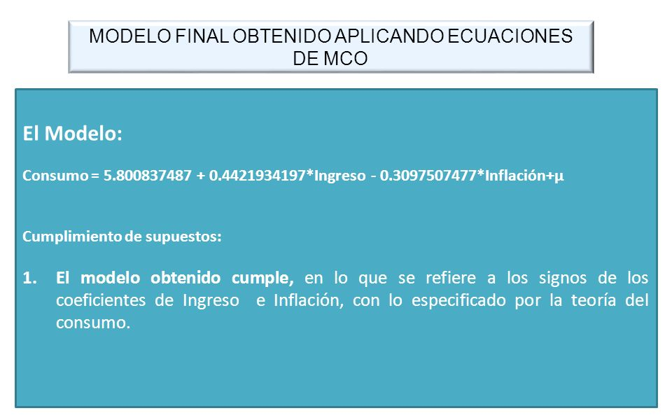 MODELO FINAL OBTENIDO APLICANDO ECUACIONES DE MCO