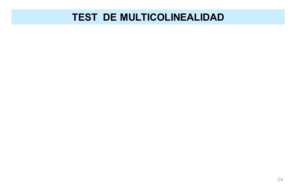 TEST DE MULTICOLINEALIDAD