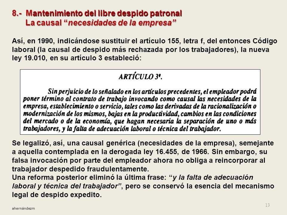 8.- Mantenimiento del libre despido patronal