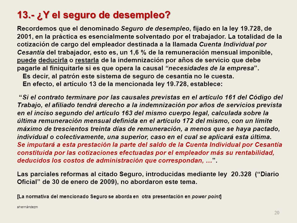 13.- ¿Y el seguro de desempleo