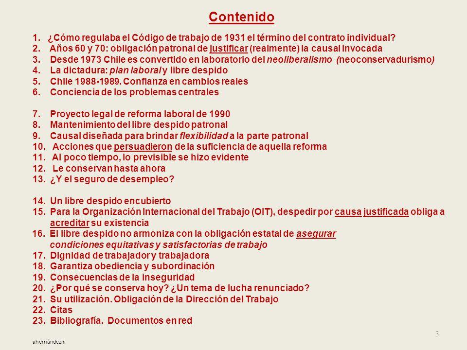 Contenido 1. ¿Cómo regulaba el Código de trabajo de 1931 el término del contrato individual