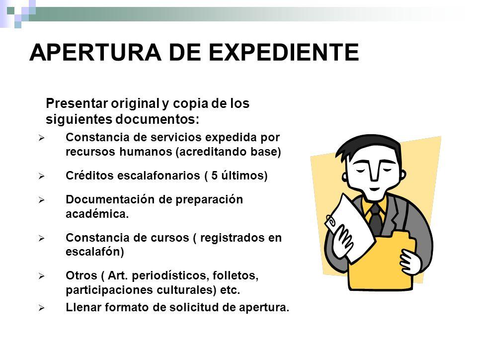 APERTURA DE EXPEDIENTE