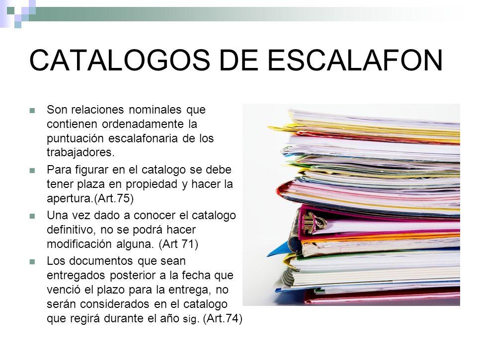 CATALOGOS DE ESCALAFON