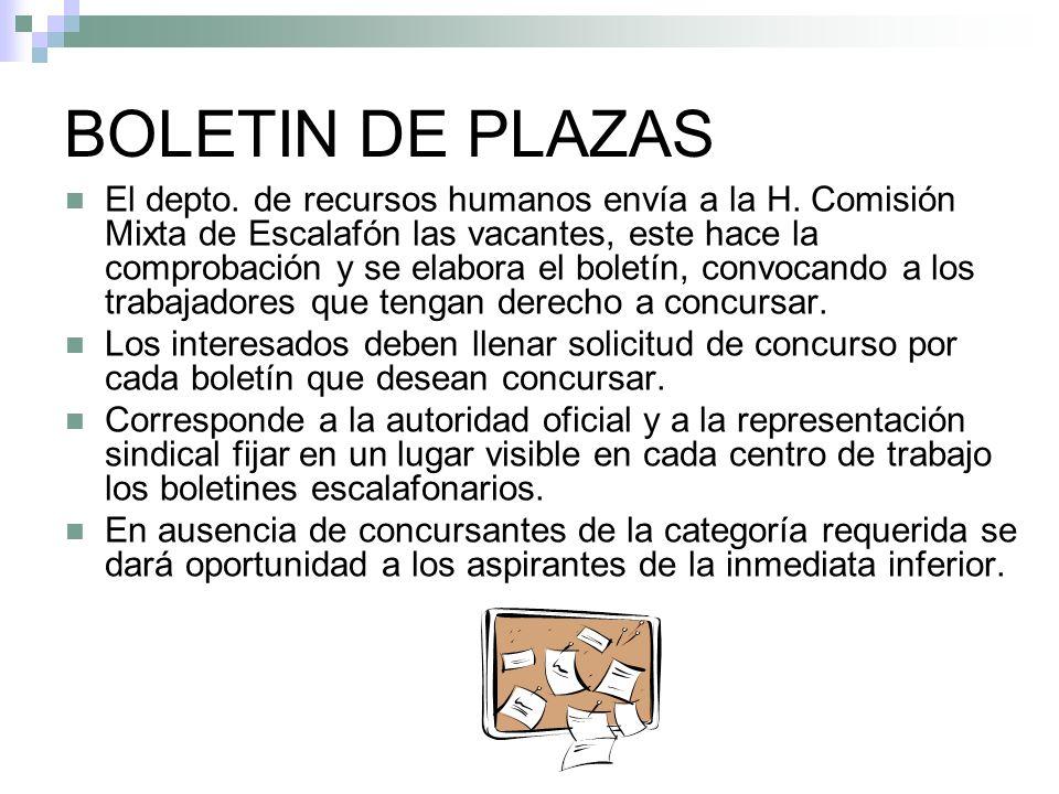 BOLETIN DE PLAZAS