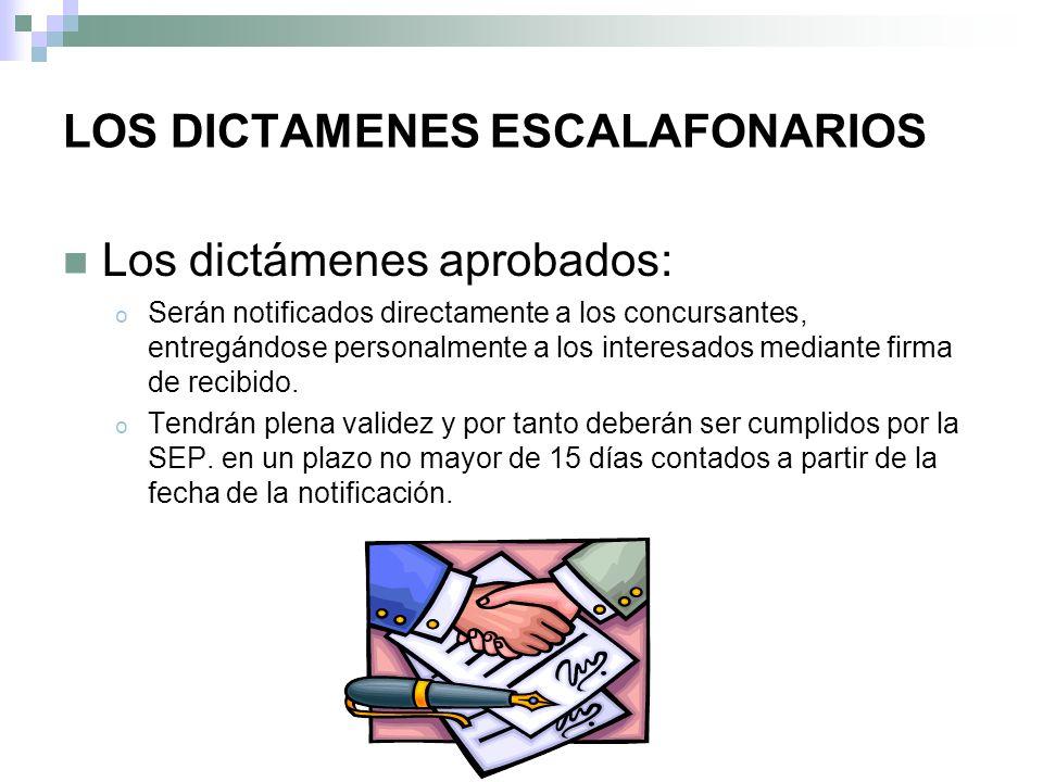 LOS DICTAMENES ESCALAFONARIOS
