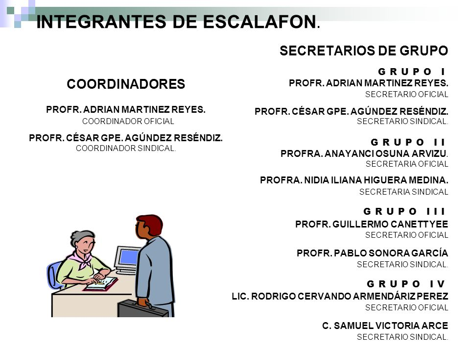 INTEGRANTES DE ESCALAFON.