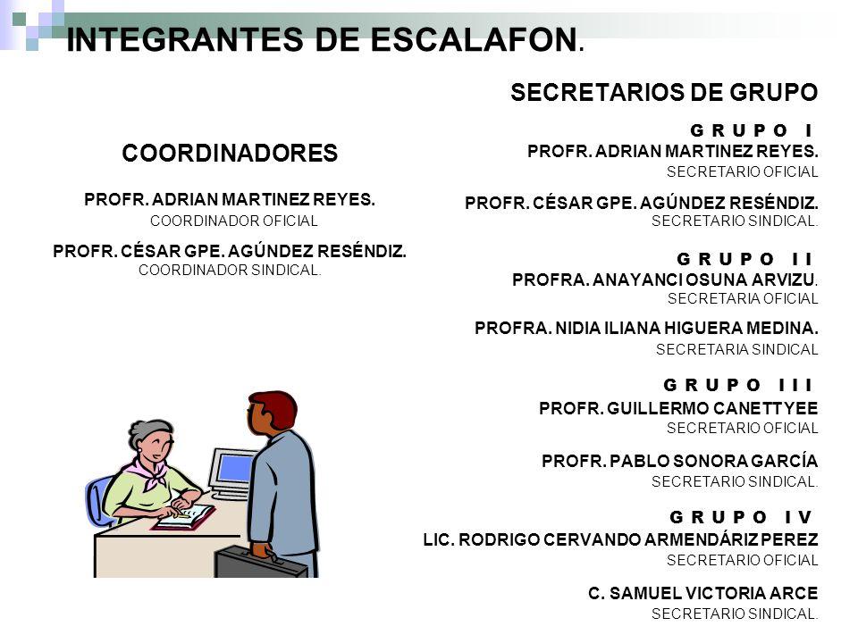 INTEGRANTES DE ESCALAFON.