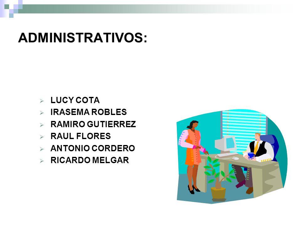 ADMINISTRATIVOS: LUCY COTA IRASEMA ROBLES RAMIRO GUTIERREZ RAUL FLORES