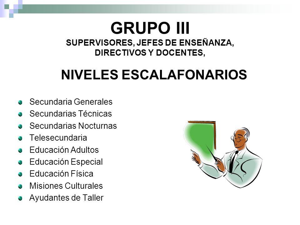 GRUPO III SUPERVISORES, JEFES DE ENSEÑANZA, DIRECTIVOS Y DOCENTES,