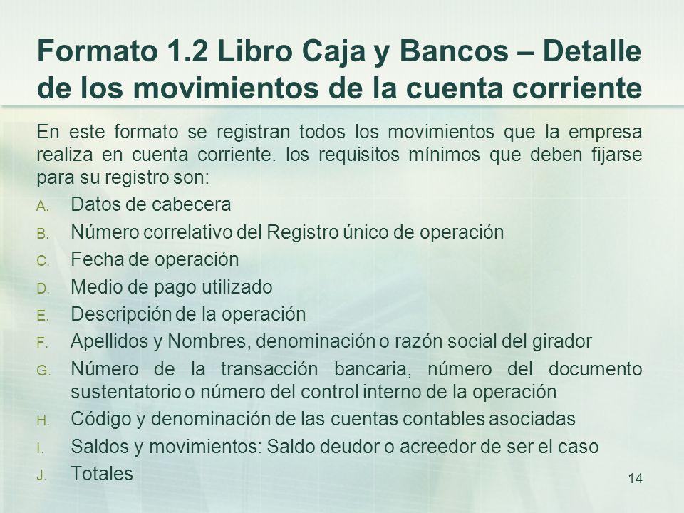Formato 1.2 Libro Caja y Bancos – Detalle de los movimientos de la cuenta corriente