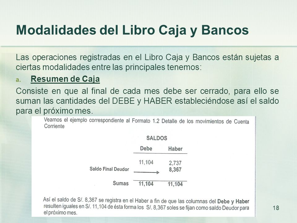 Modalidades del Libro Caja y Bancos