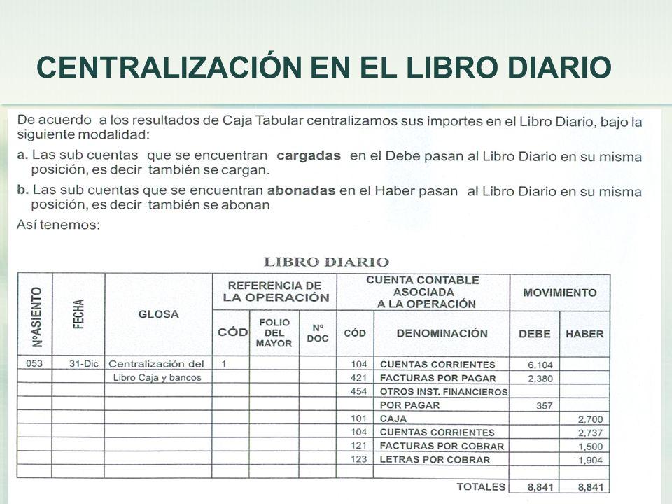 CENTRALIZACIÓN EN EL LIBRO DIARIO