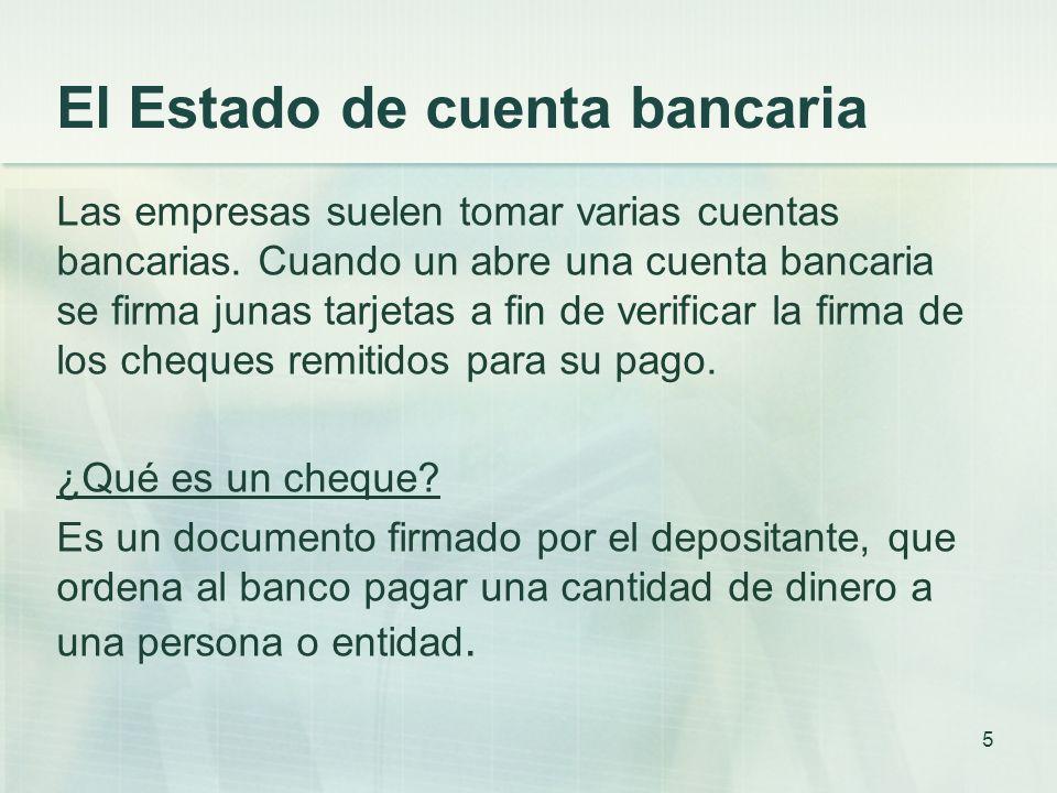 El Estado de cuenta bancaria