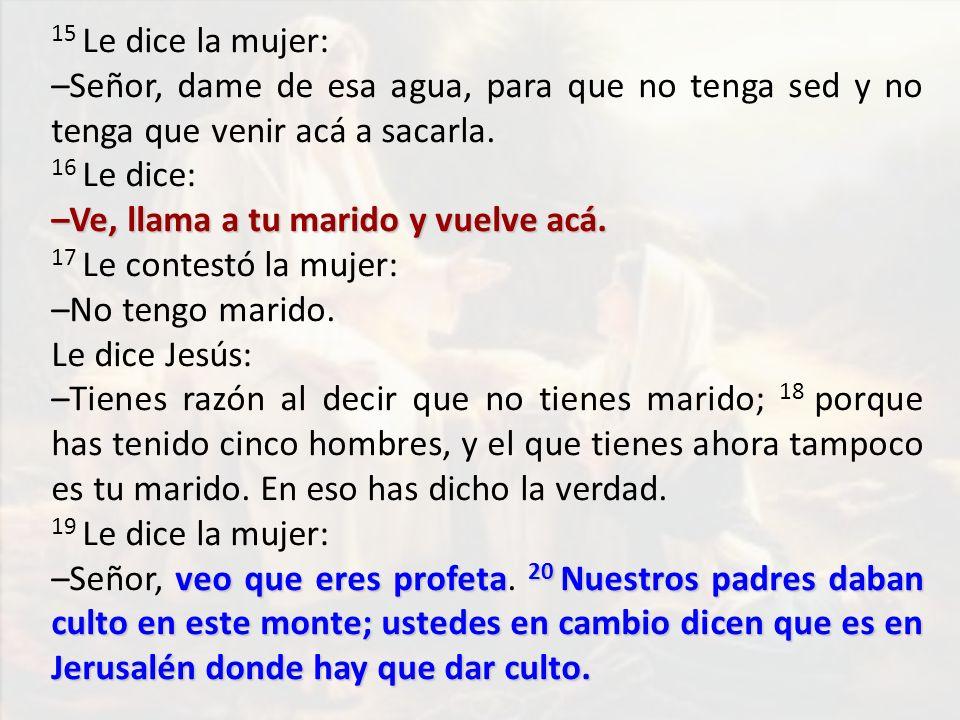 15 Le dice la mujer: –Señor, dame de esa agua, para que no tenga sed y no tenga que venir acá a sacarla.
