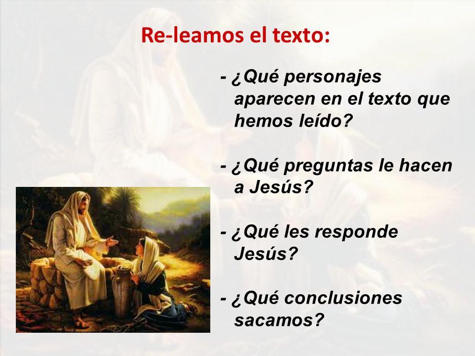 Re-leamos el texto: - ¿Qué personajes aparecen en el texto que hemos leído - ¿Qué preguntas le hacen a Jesús
