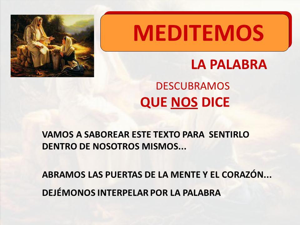 MEDITEMOS LA PALABRA QUE NOS DICE DESCUBRAMOS