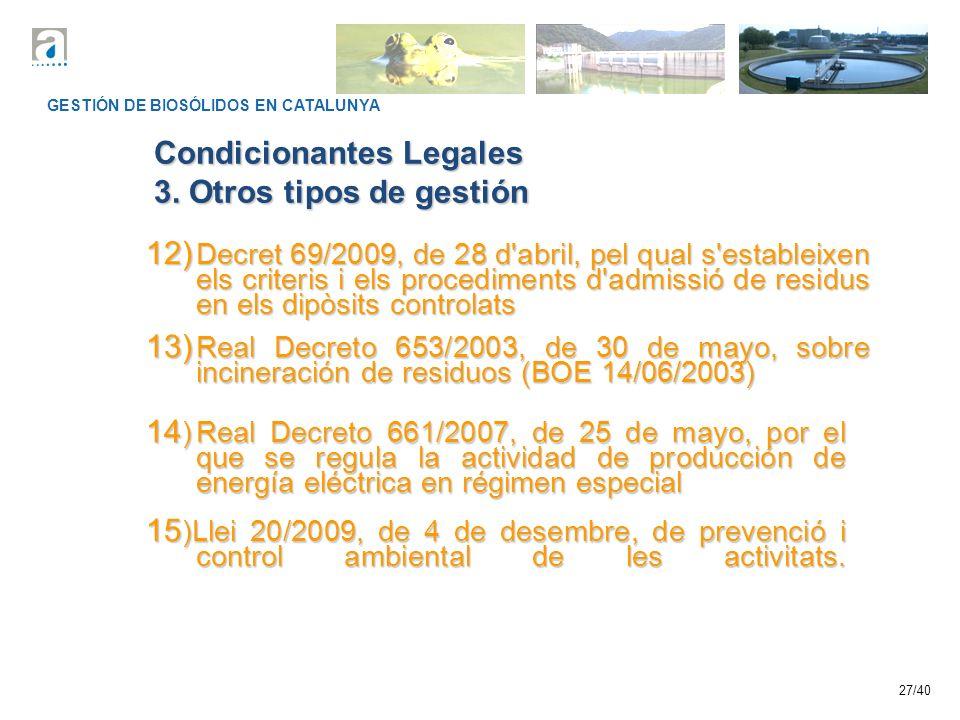 Condicionantes Legales 3. Otros tipos de gestión