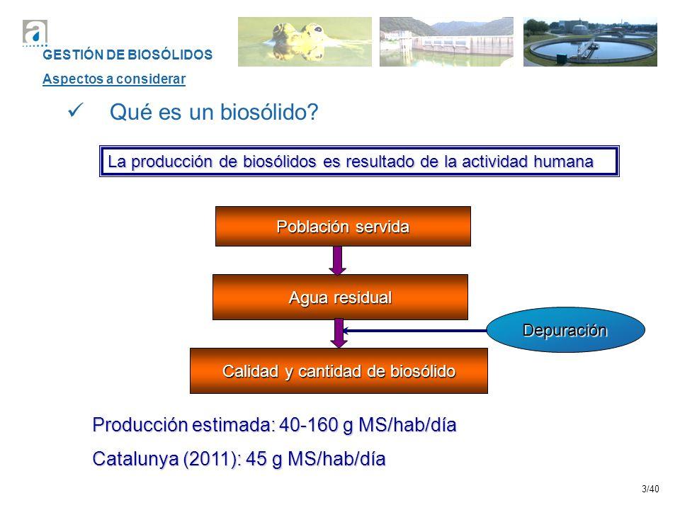 Calidad y cantidad de biosólido