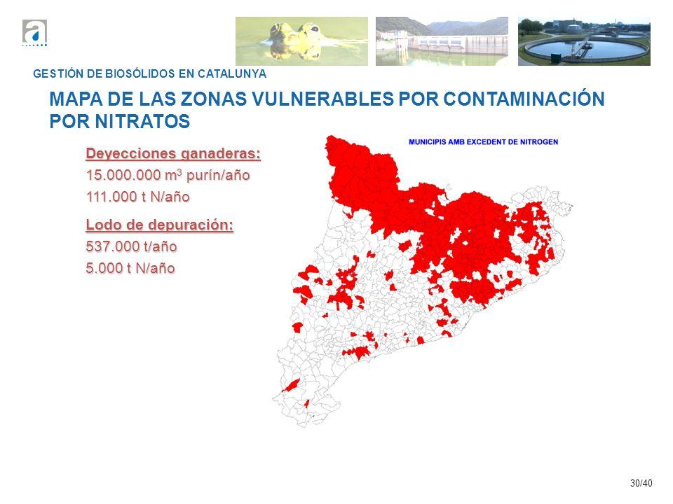 MAPA DE LAS ZONAS VULNERABLES POR CONTAMINACIÓN POR NITRATOS