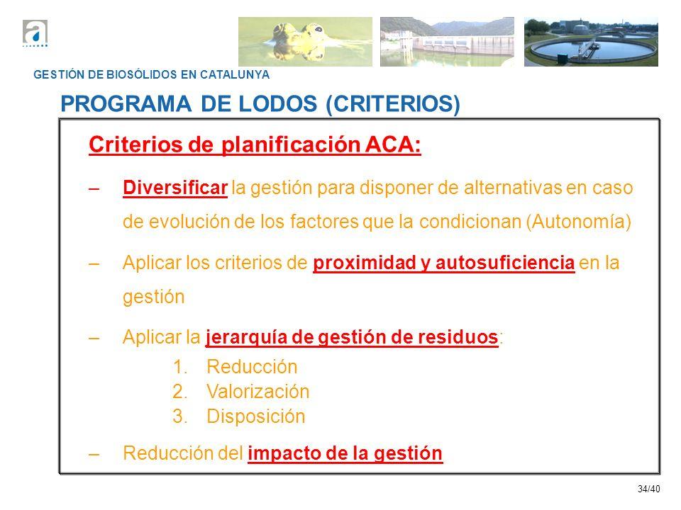 PROGRAMA DE LODOS (CRITERIOS) Criterios de planificación ACA:
