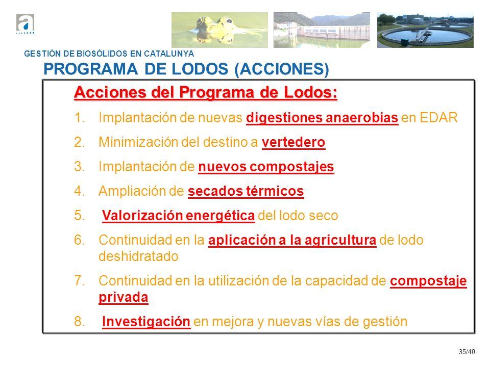 PROGRAMA DE LODOS (ACCIONES) Acciones del Programa de Lodos: