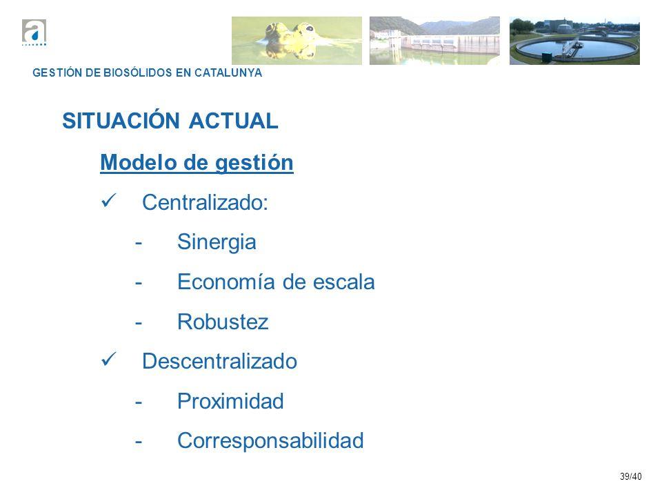 SITUACIÓN ACTUAL Modelo de gestión Centralizado: Sinergia