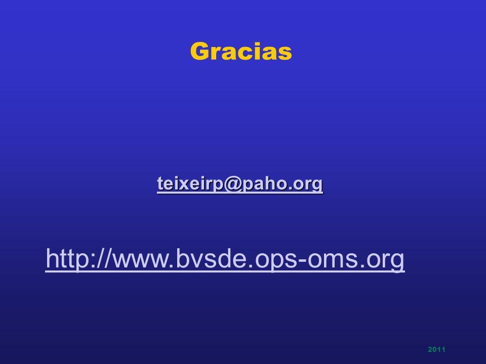 Gracias teixeirp@paho.org http://www.bvsde.ops-oms.org