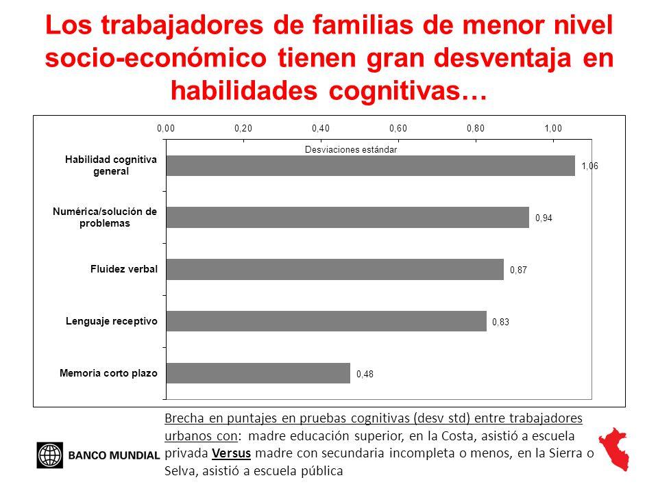 Los trabajadores de familias de menor nivel socio-económico tienen gran desventaja en habilidades cognitivas…