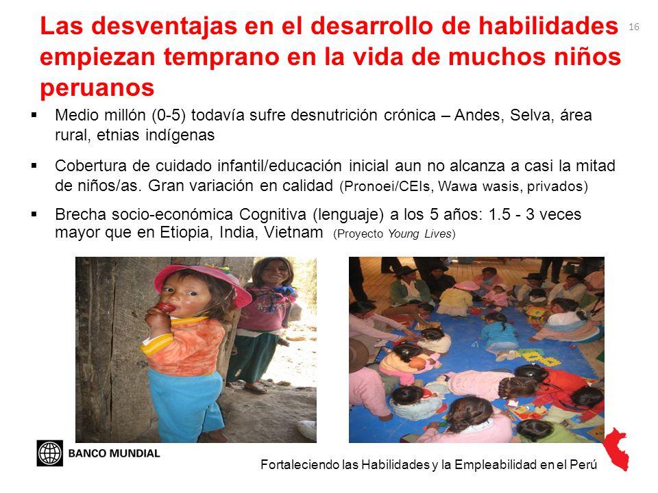 Las desventajas en el desarrollo de habilidades empiezan temprano en la vida de muchos niños peruanos