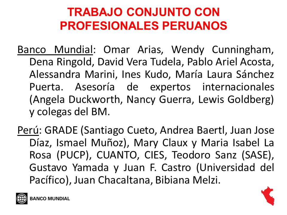 TRABAJO CONJUNTO CON PROFESIONALES PERUANOS