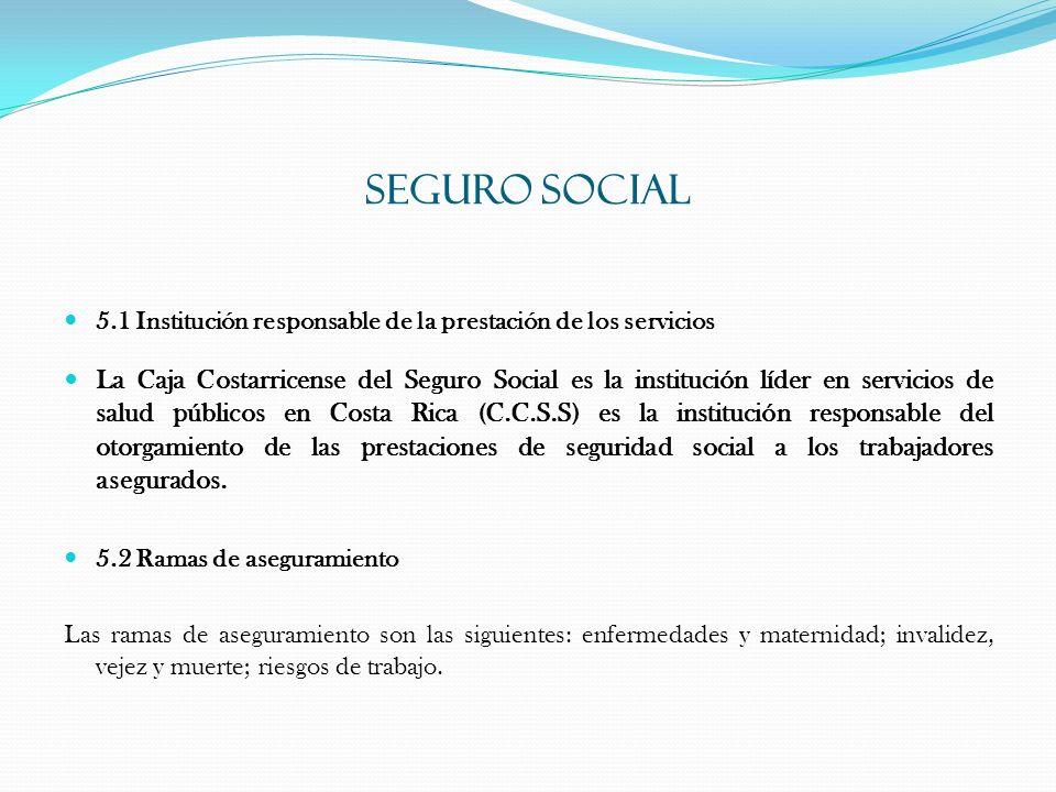 SEGURO SOCIAL 5.1 Institución responsable de la prestación de los servicios.