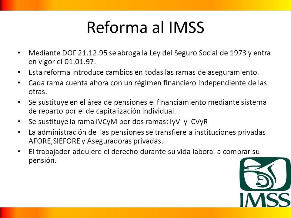 Reforma al IMSS Mediante DOF 21.12.95 se abroga la Ley del Seguro Social de 1973 y entra en vigor el 01.01.97.