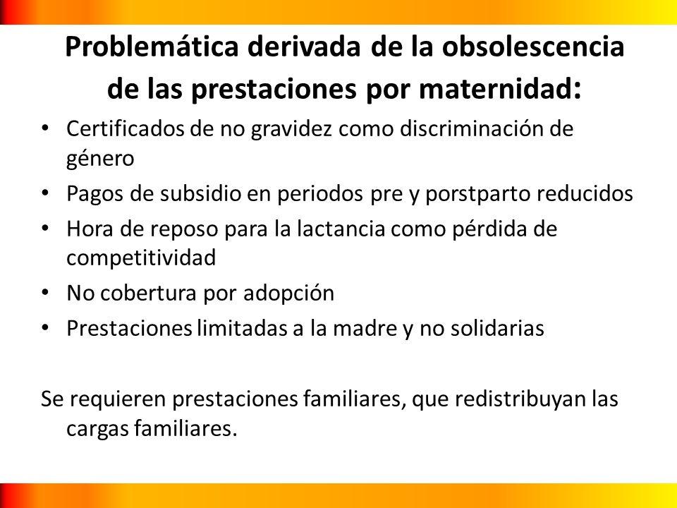 Problemática derivada de la obsolescencia de las prestaciones por maternidad: