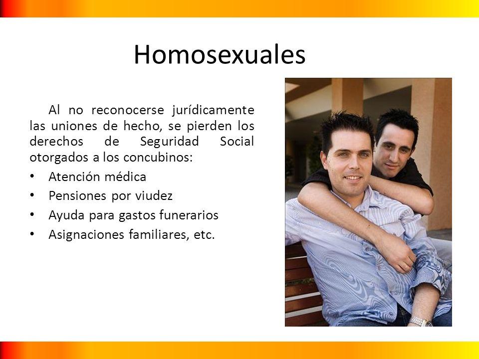 Homosexuales Al no reconocerse jurídicamente las uniones de hecho, se pierden los derechos de Seguridad Social otorgados a los concubinos: