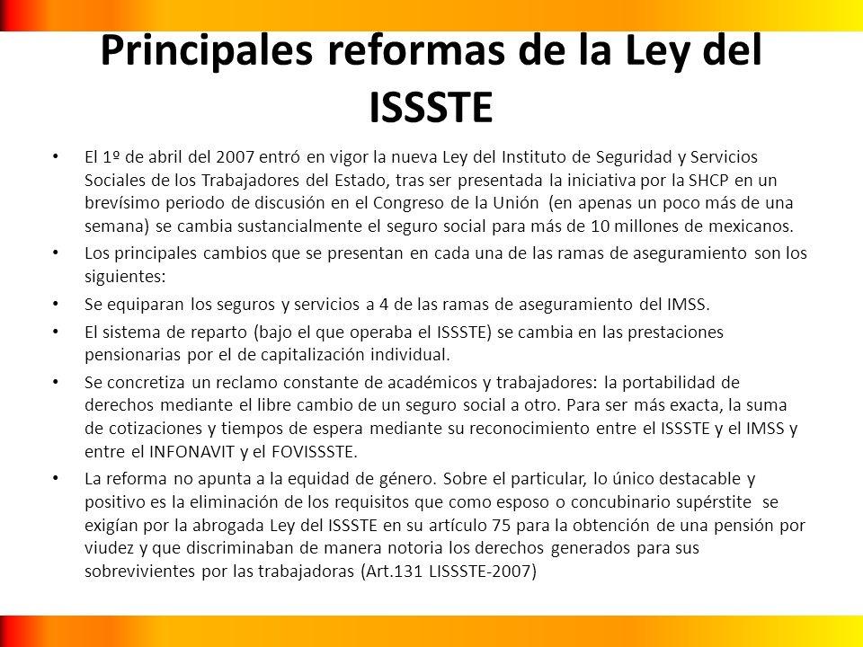 Principales reformas de la Ley del ISSSTE