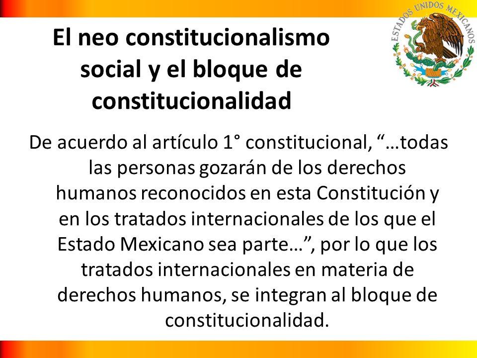 El neo constitucionalismo social y el bloque de constitucionalidad