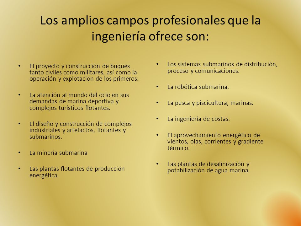 Los amplios campos profesionales que la ingeniería ofrece son: