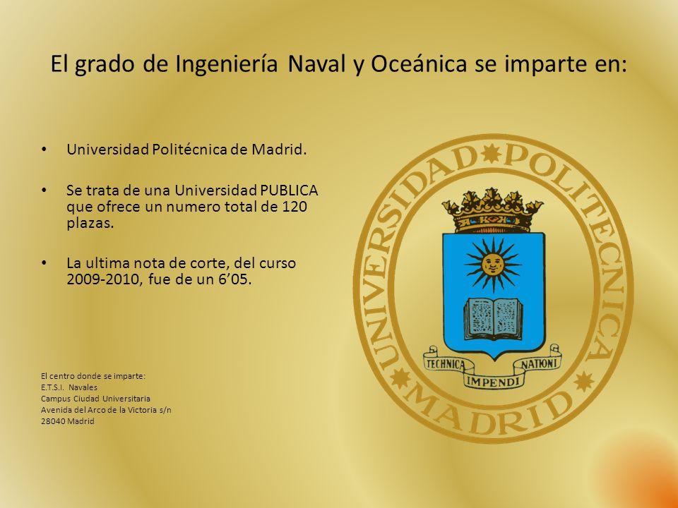 El grado de Ingeniería Naval y Oceánica se imparte en: