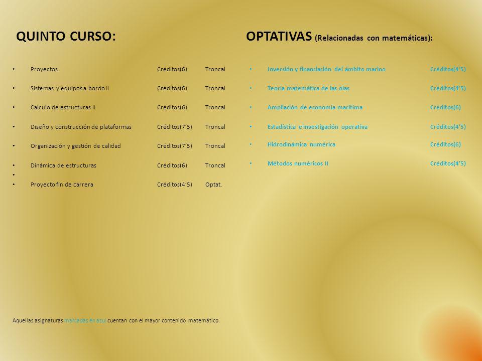OPTATIVAS (Relacionadas con matemáticas):